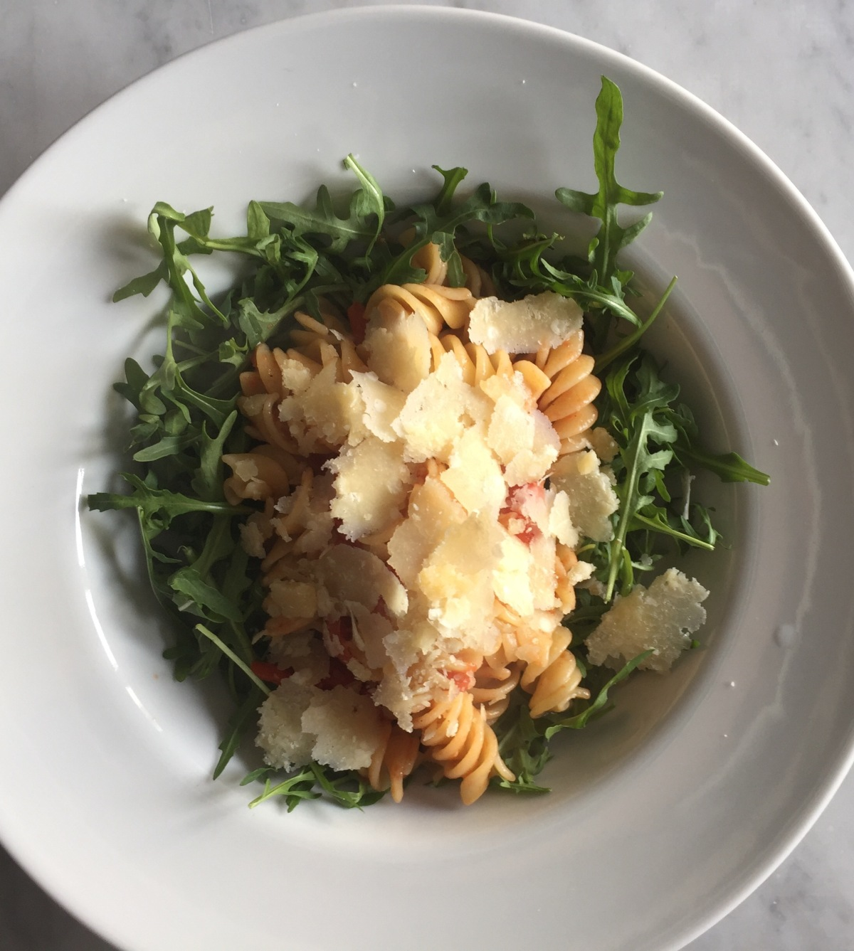 Meatless Monday…Pasta with Arugula, Garlicy  Fresh Tomatoes and Parmesan Cheese Petals