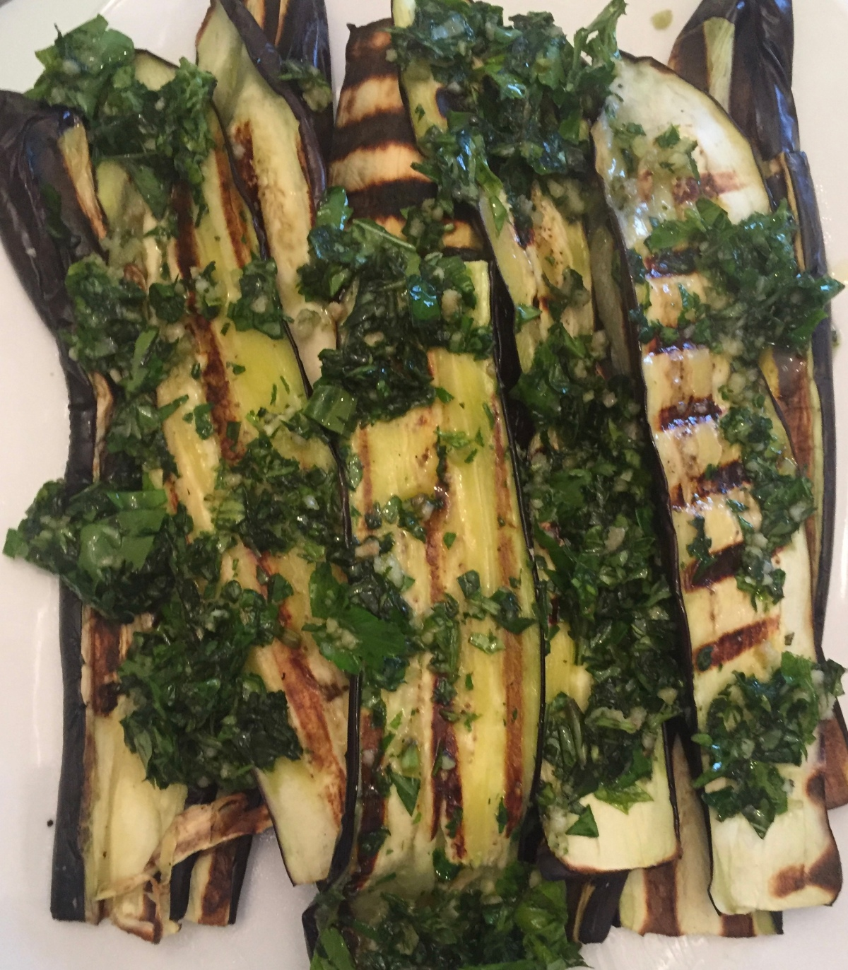 Grilled Eggplant with Basil, Parsley and Garlic Oil