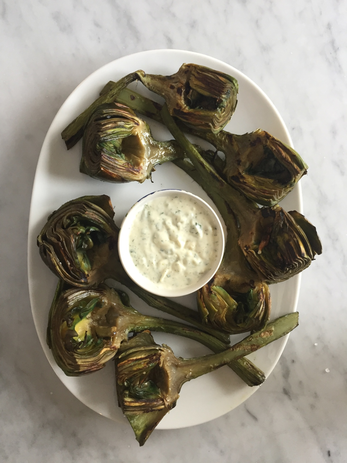 Grilled Roman Artichokes with Lemon, Roasted Garlic Mayonnaise